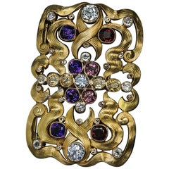 Art Nouveau Antique Russian Jeweled Gold Belt Buckle Brooch