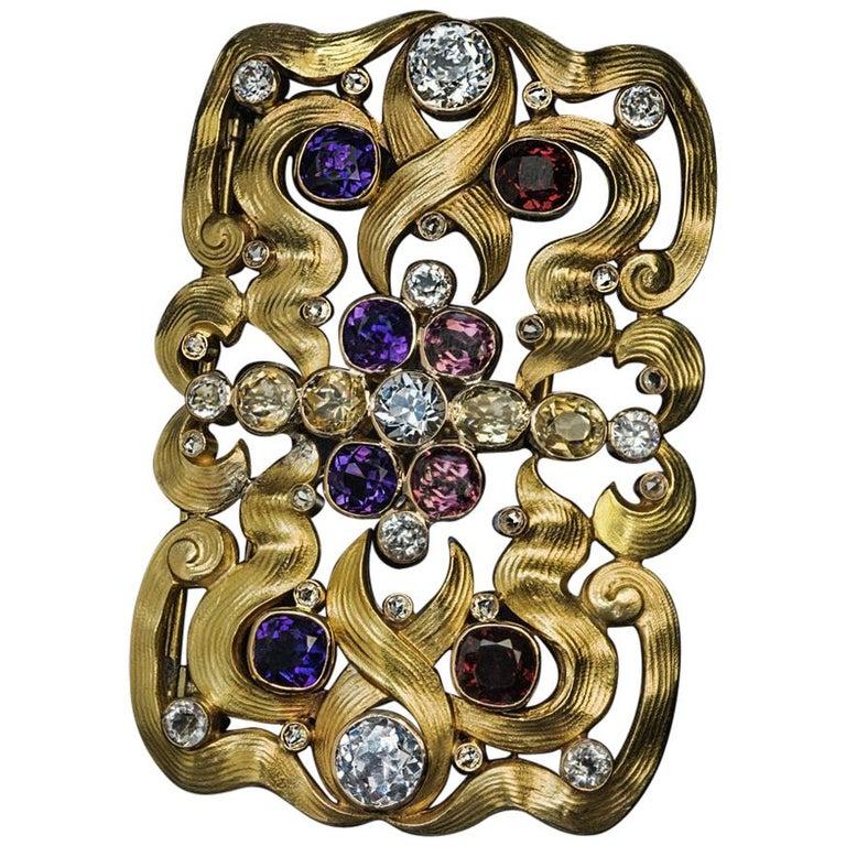 Art Nouveau Antique Russian Jeweled Gold Belt Buckle Brooch For Sale