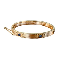 Art Nouveau Antique Sapphire 14 Karat Yellow Gold Bangle