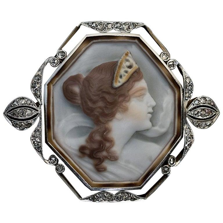 Art Nouveau Antique Shell Cameo Diamond Platinum Gold Brooch For Sale