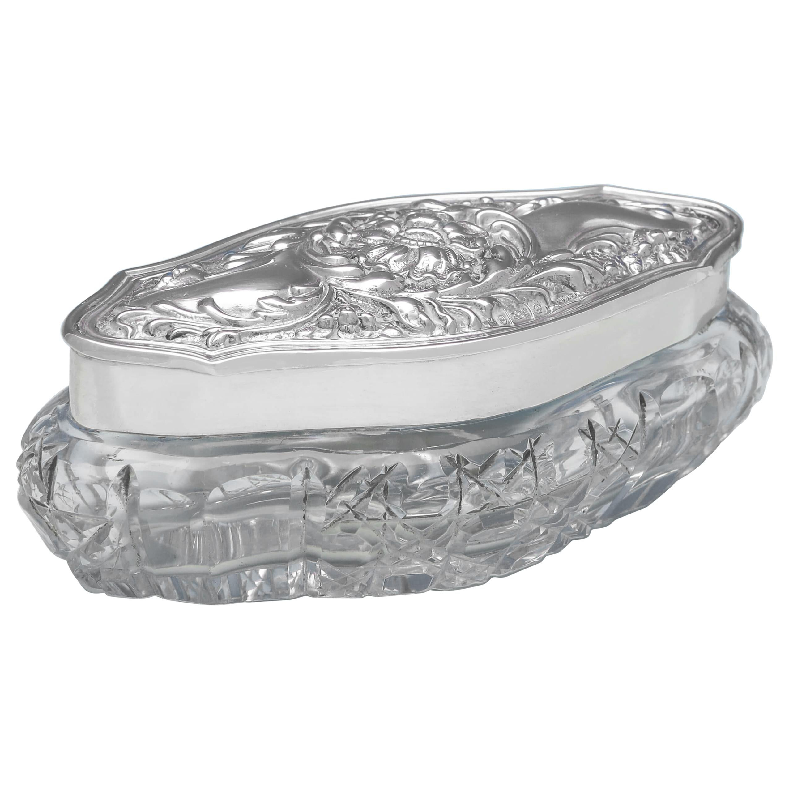 Art Nouveau Antique Sterling Silver Dressing Table Box by Henry Bushell, 1904