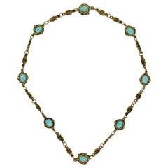 Art Nouveau Antique Turquoise Gold Filigree Necklace