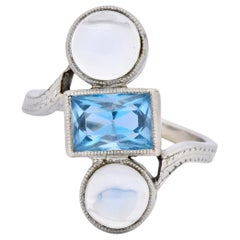 Art Nouveau Aquamarine Moonstone 14 Karat White Gold Ring