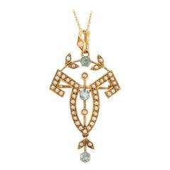 Art Nouveau Aquamarine Pearl Lavaliere Pendant Necklace