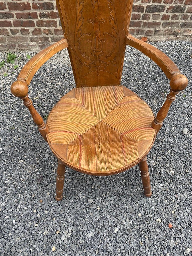 Art Nouveau Armchair in Bis and Straw, France circa 1900 In Good Condition For Sale In Saint-Ouen, FR