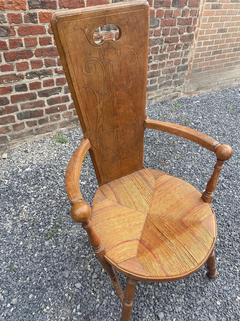 Art Nouveau Armchair in Bis and Straw, France circa 1900 For Sale 1