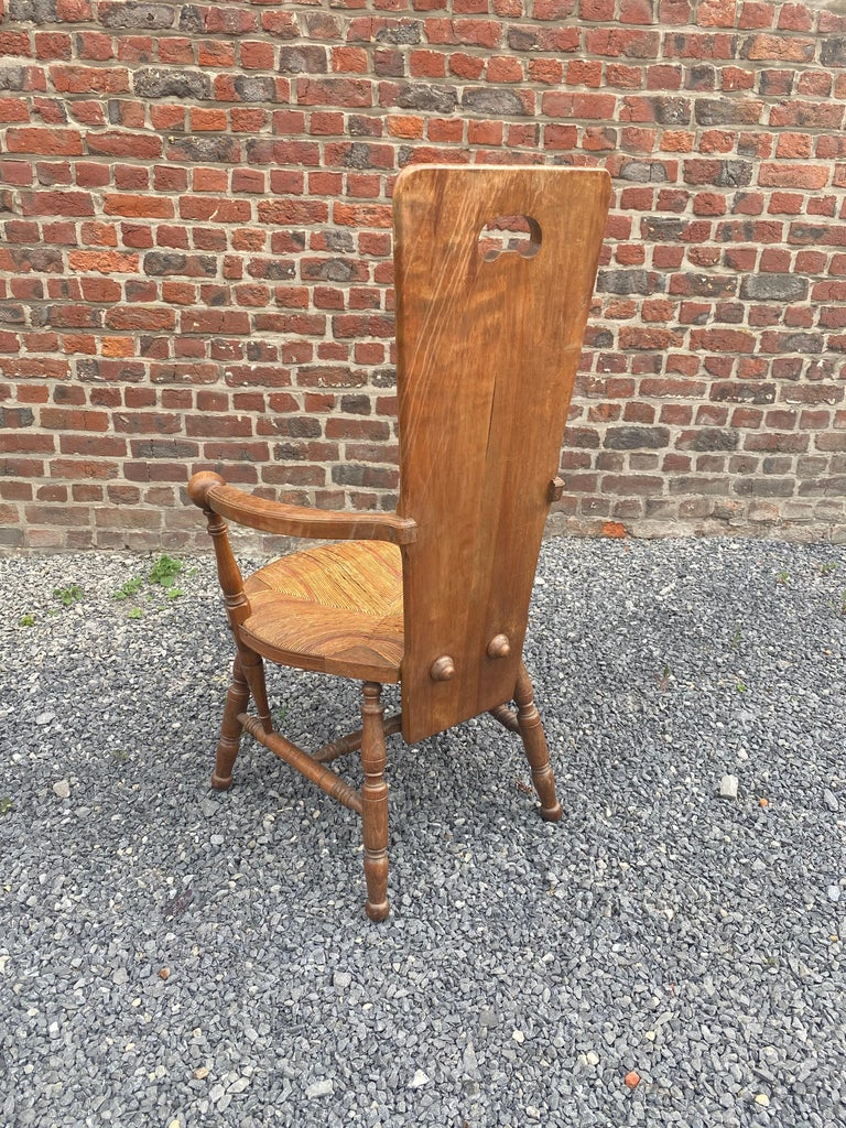 Art Nouveau Armchair in Bis and Straw, France circa 1900 For Sale 2