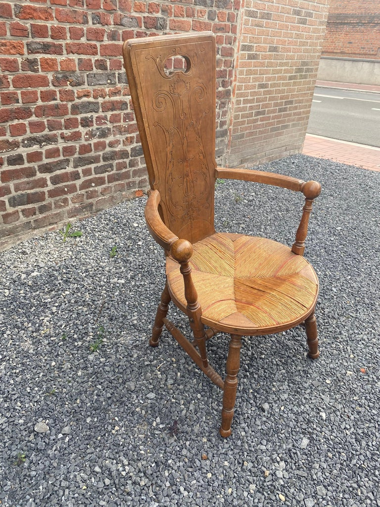 Art Nouveau Armchair in Bis and Straw, France circa 1900 For Sale 4