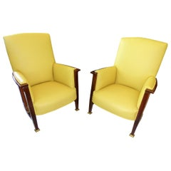 Art Nouveau Armchairs from 1910 Made of Mahogany with Yellow Leather