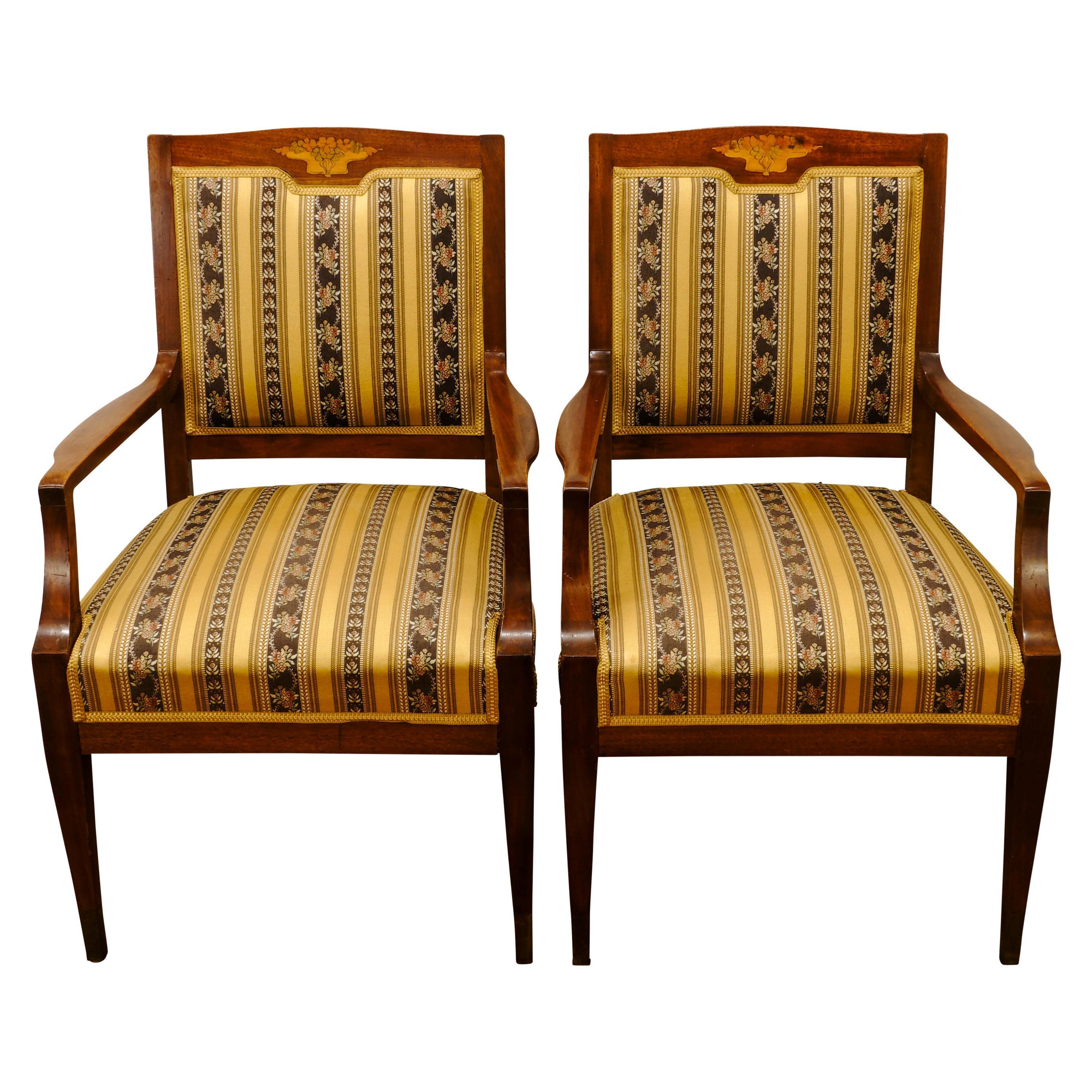 Chaise Style Art Nouveau two italian art nouveau carved teak armchairs