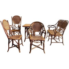 Art Nouveau Art Deco Antique Rope and Rattan Bamboo Garden or Porch Set