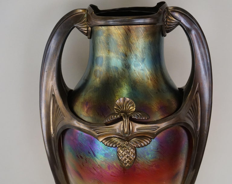 Bronzed Art Nouveau/Art Deco Large Loetz Glass Vase with Patinated Bronze Finished Base For Sale