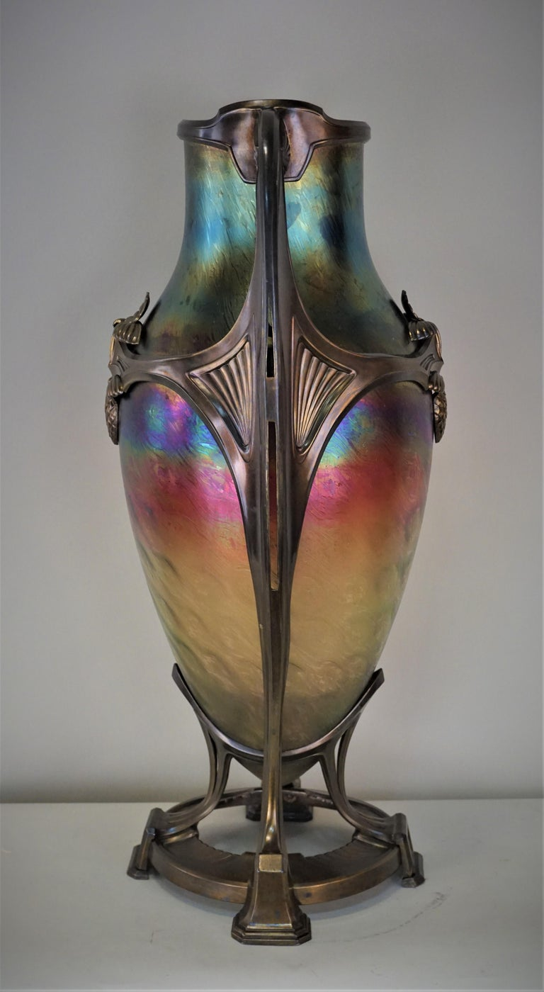 Art Nouveau/Art Deco Large Loetz Glass Vase with Patinated Bronze Finished Base In Fair Condition For Sale In Fairfax, VA