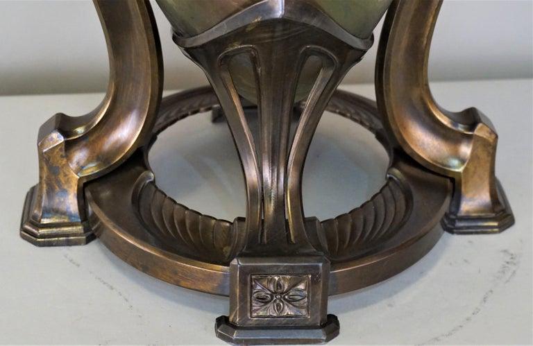 Art Nouveau/Art Deco Large Loetz Glass Vase with Patinated Bronze Finished Base For Sale 1