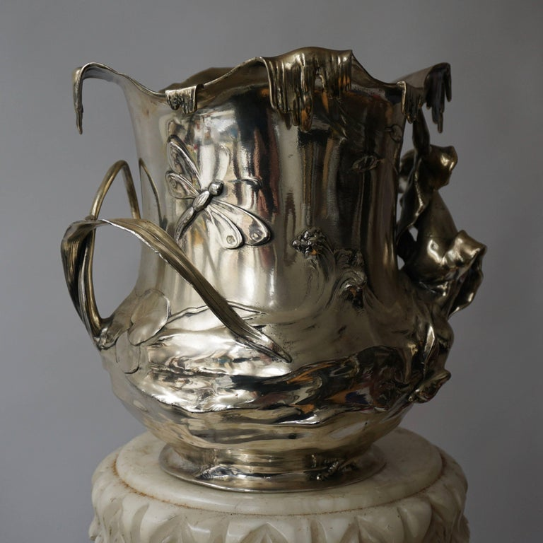 Art Nouveau Art Nouveau WMF Pewter Champagne Bucket In Good Condition In Antwerp, BE