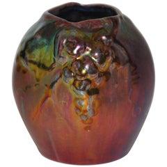 Art Nouveau Art Pottery Montieres Red Green Lustre Vase Pot