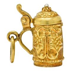 Art Nouveau Articulated 14 Karat Gold Floral German Beer Stein Charm