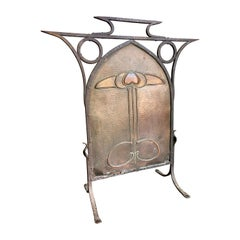 Art Nouveau Arts & Crafts Copper and Iron Fire Screen, circa 1910