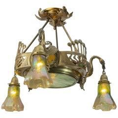 Art Nouveau Austrian Secessionist 3-Arm Chandelier w/Art Glass and Swans ca.1900