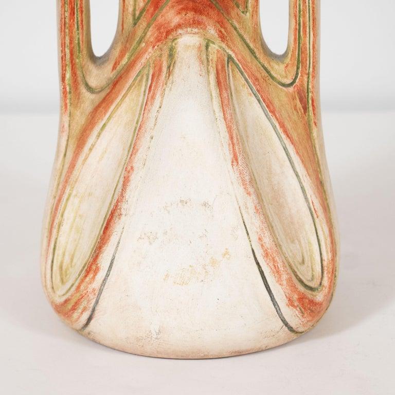Art Nouveau Austrian Secessionist Sculptural Ceramic Vase by Julius Dressler In Excellent Condition For Sale In New York, NY