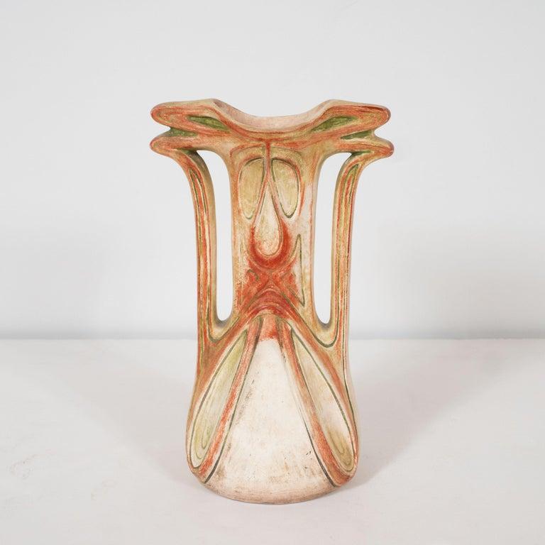 Art Nouveau Austrian Secessionist Sculptural Ceramic Vase by Julius Dressler For Sale 2