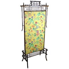 Art Nouveau Bamboo Screen with Baumann Fabric Art Nouveau, Austria, circa 1900