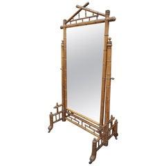 Art Nouveau Bambou Cheval Mirror, circa 1900