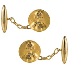 Art Nouveau Becker Diamonds 18 Karat Yellow Gold Cufflinks