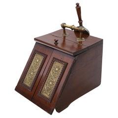 Art Nouveau Beech Walnut and Brass Coal Scuttle Box