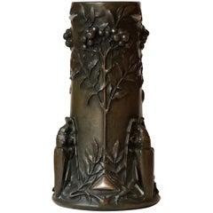 Art Nouveau Beetles Bronze Vase by Pierre-Georges Deraisme