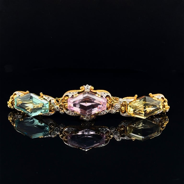 Women's Art Nouveau Beryl and Diamond Bracelet, circa 1910s For Sale