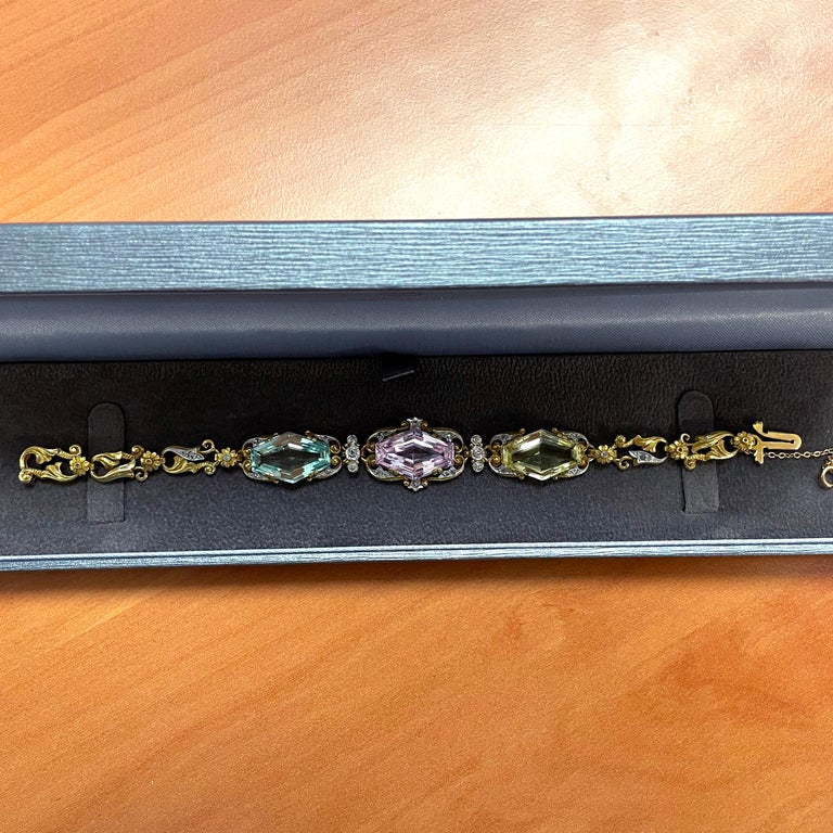 Art Nouveau Beryl and Diamond Bracelet, circa 1910s For Sale 2