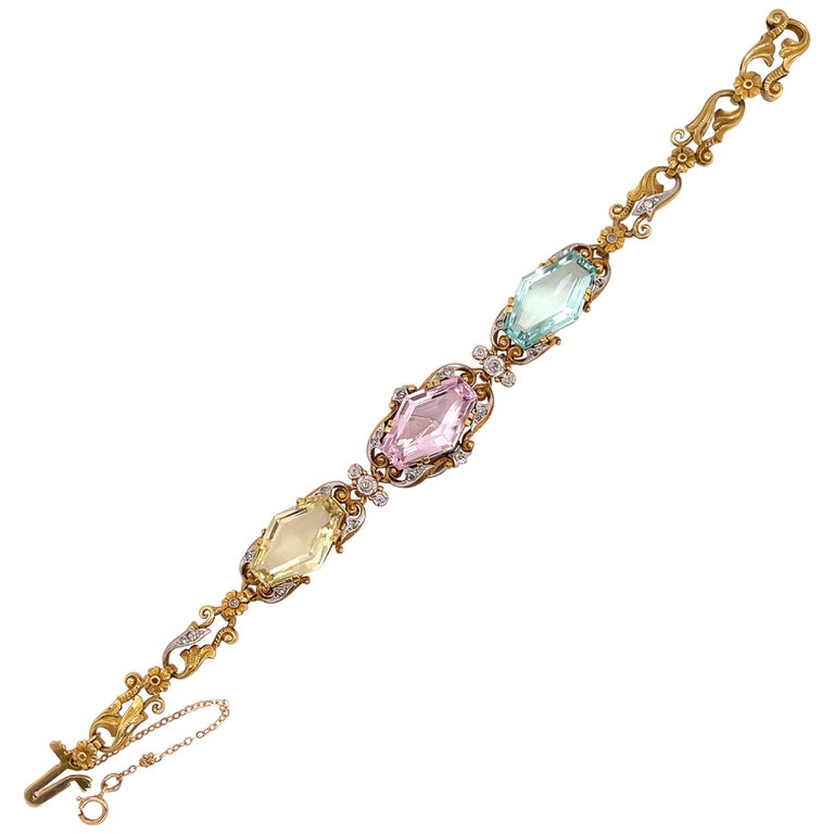 Art Nouveau Beryl and Diamond Bracelet, circa 1910s For Sale