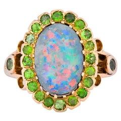 Art Nouveau Black Opal Demantoid Garnet 14 Karat Gold Cluster Ring