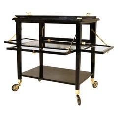 Art Nouveau Black Stained Serving Cart Tea Cart, Austria, 1910