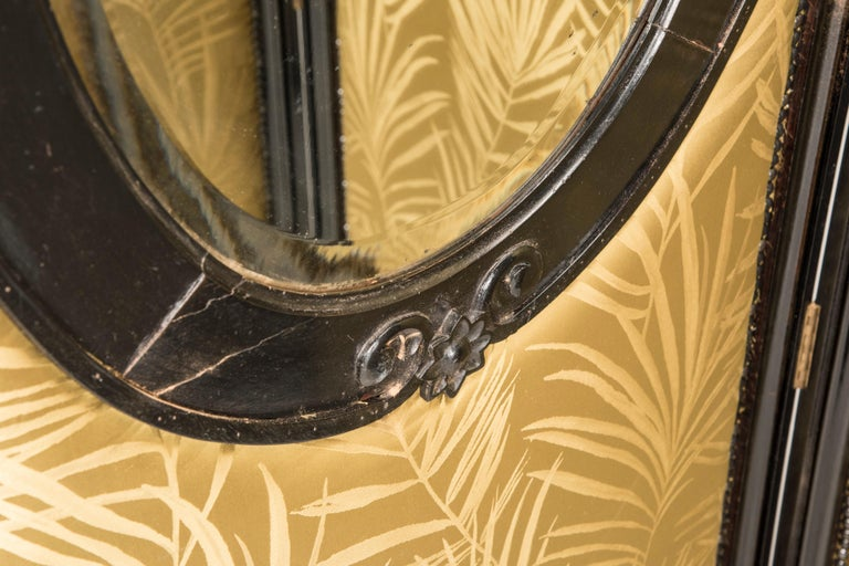 Art Nouveau Black Wood Green Palm Fabric Five Panels and Oval Mirrors Screen For Sale 4