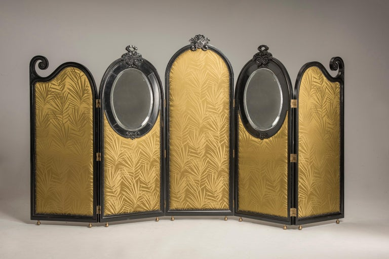 Liberty black wood green palm fabric five panels and oval mirrors room divider  An Art Nouveau screen composed by five folding panels, two of them carry two oval mirrors with beveled original glass. Ovals are on the front part, while on the back the