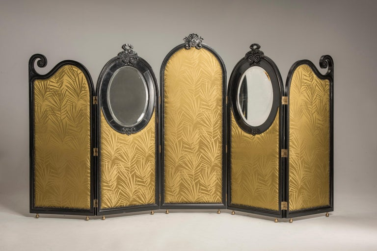 Art Nouveau Black Wood Green Palm Fabric Five Panels and Oval Mirrors Screen In Excellent Condition For Sale In Milano, IT