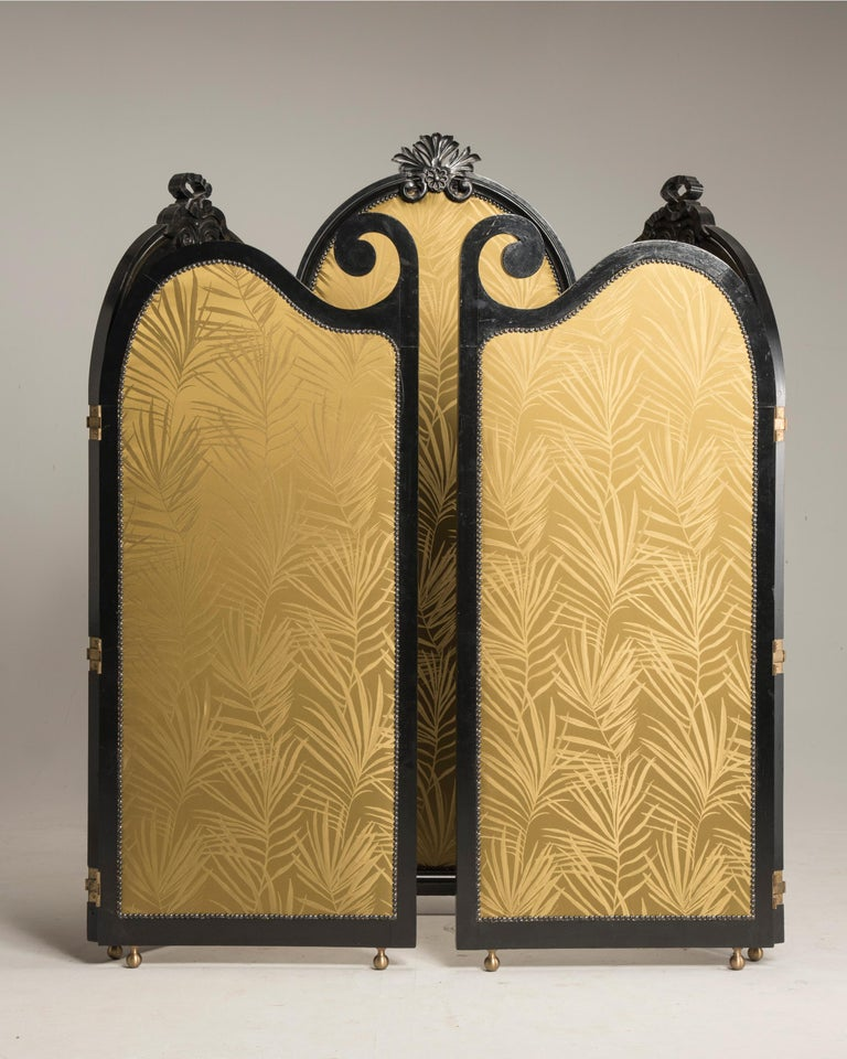 Upholstery Art Nouveau Black Wood Green Palm Fabric Five Panels and Oval Mirrors Screen For Sale
