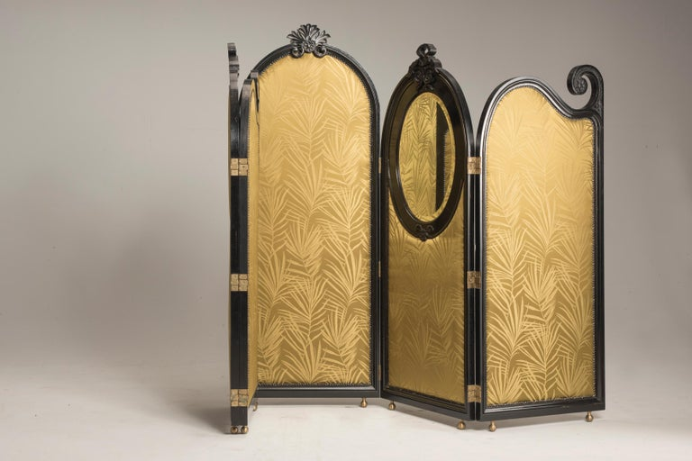 Art Nouveau Black Wood Green Palm Fabric Five Panels and Oval Mirrors Screen For Sale 2