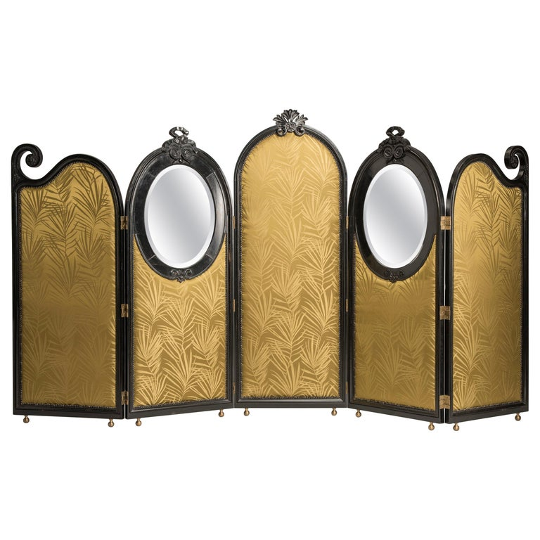 Art Nouveau Black Wood Green Palm Fabric Five Panels and Oval Mirrors Screen For Sale