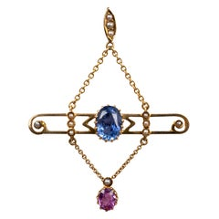 Art Nouveau Blue and Pink Sapphire Pearl Pendant Necklace 15 Carat Yellow Gold