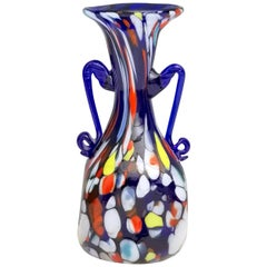 Art Nouveau Blue Murano Glass Vase Produced by Toso, Italy