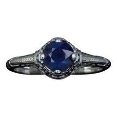 Art Nouveau Blue Sapphire White Gold Filigree Solitaire Ring