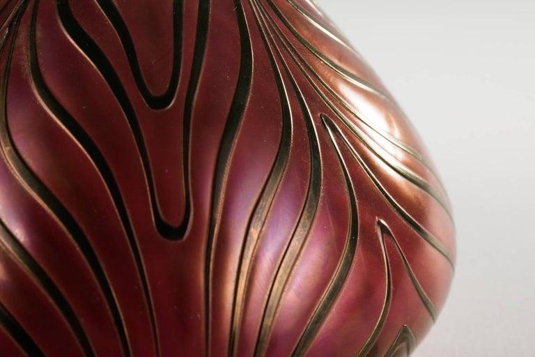 Austrian Art Nouveau Bohemian Glass Vase with Spiral Melting by Kralik For Sale