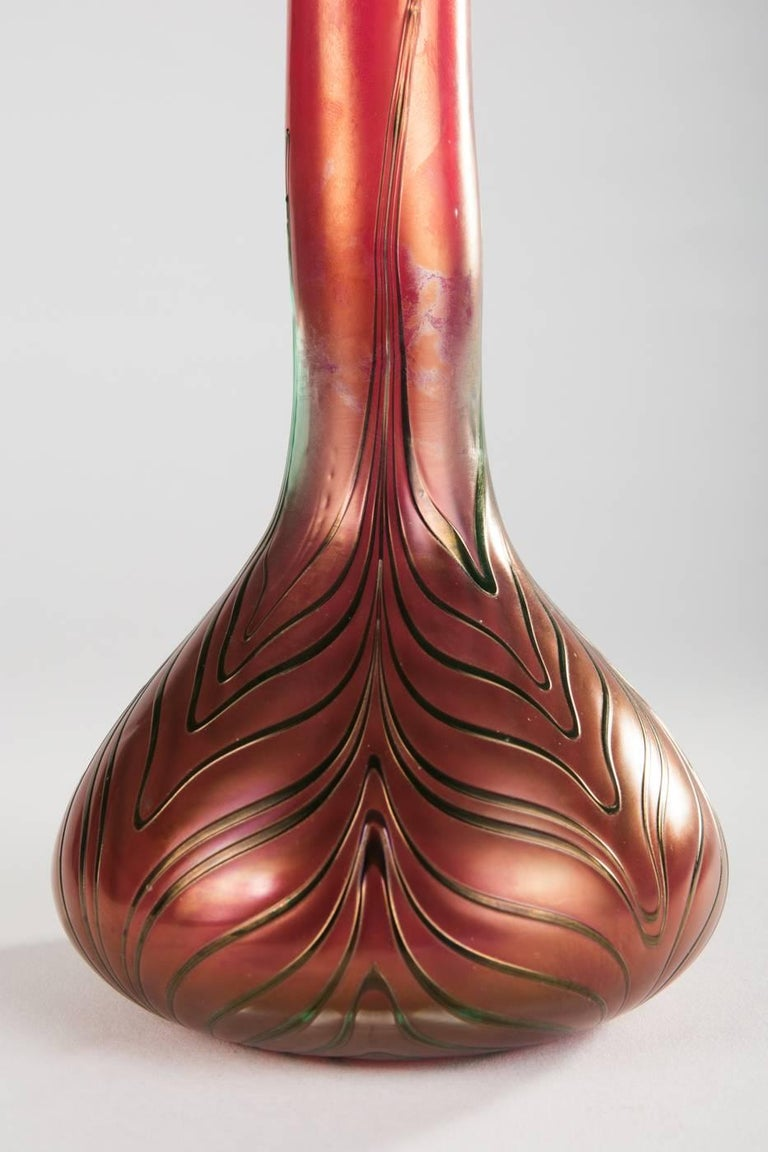Early 20th Century Art Nouveau Bohemian Glass Vase with Spiral Melting by Kralik For Sale