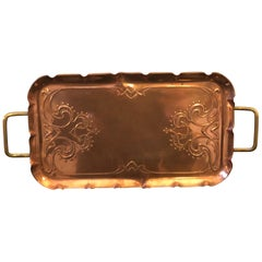 Jugendstil Britische Messing und Kupfer Tablett, Circa 1900