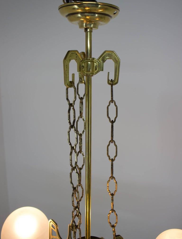 Art Nouveau Brass Chandelier, 1910s For Sale 5