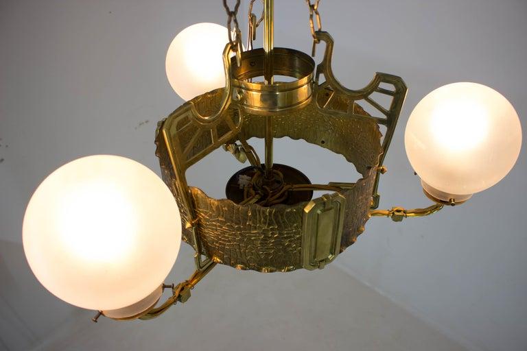 Art Nouveau Brass Chandelier, 1910s For Sale 6