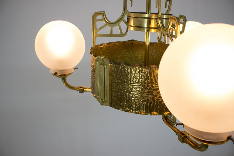 Art Nouveau Brass Chandelier, 1910s In Good Condition For Sale In Praha, CZ